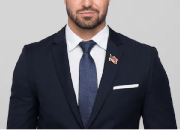 AMERICAN FLAG PIN being Worn