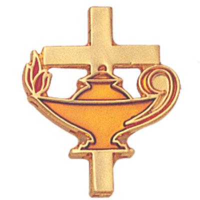 Oil Lamp and Cross Award Pin