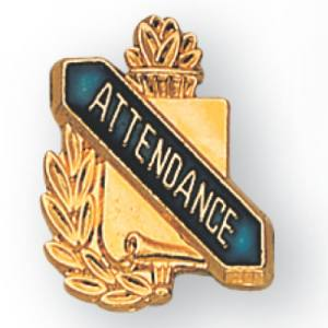 Attendance Scroll Award Pin