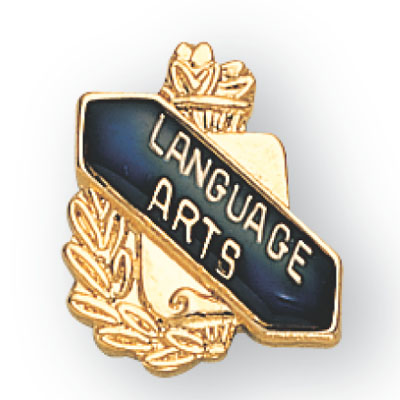 Language Arts Scroll Award Pin