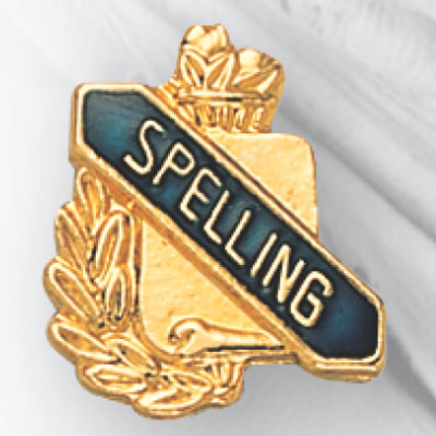 Spelling Scroll Award Pin
